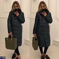 Длинное зимнее женское пальто куртка прямого покроя 22a994db9929e