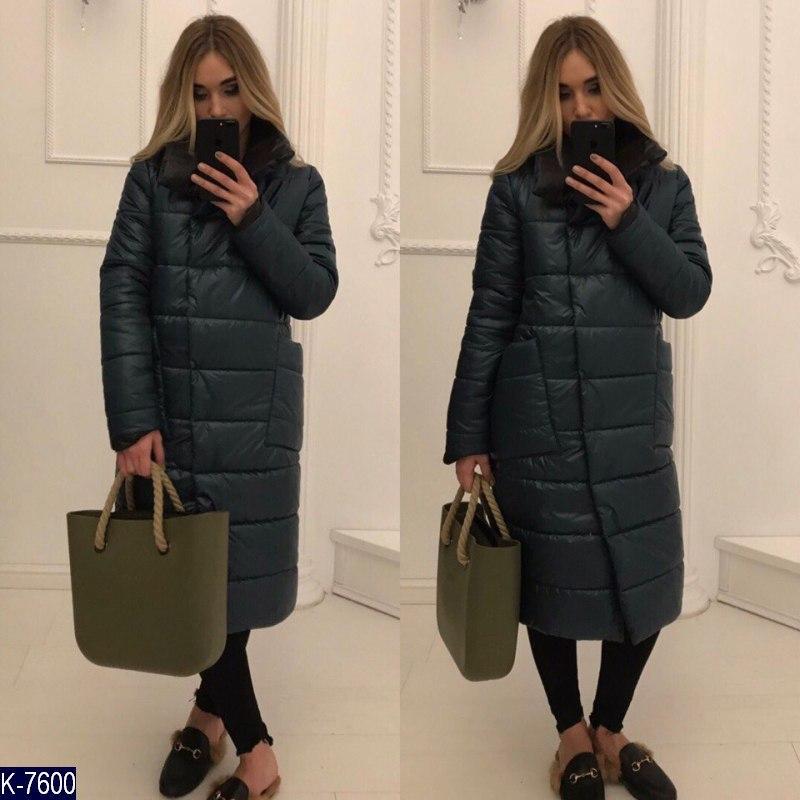 Длинное зимнее женское пальто куртка прямого покроя - Интернет-магазин