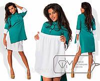Платье-костюм с разрезами - поло-фрак из креп-костюмки и нижняя юбка мини из креп-шифона 7435