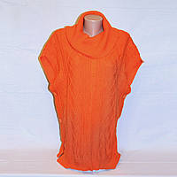 Оранжевая вязаная туника пончо Oodji, р 44-46-48