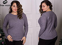 Женский теплый свитер без горловины (размеры 50-56)