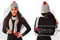 Комплект из ангоры на флисе с помпонами из натуральных нитей - шапка с декором Вишенки и шарф 7907