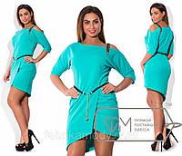 Платье мини из крепа с юбкой на асимметричный запах, декольте на одно плечо с декоративной лямкой и поясом X3811