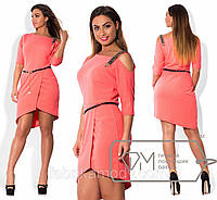 Платье мини из крепа с юбкой на асимметричный запах, декольте на одно плечо с декоративной лямкой и поясом X3812