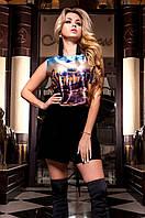 Женская шелковая блуза Ролини голубой ТМ Jadone  42-48 размеры