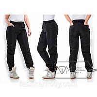 Спортивные штаны покроя 4 кармана из плащёвки на флисе с кулиской по талии X3054