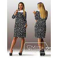 Платье миди прямое из дайвинга с рубашечной кокеткой из бенгалина, окантованной впереди жемчугом и камнями X2733