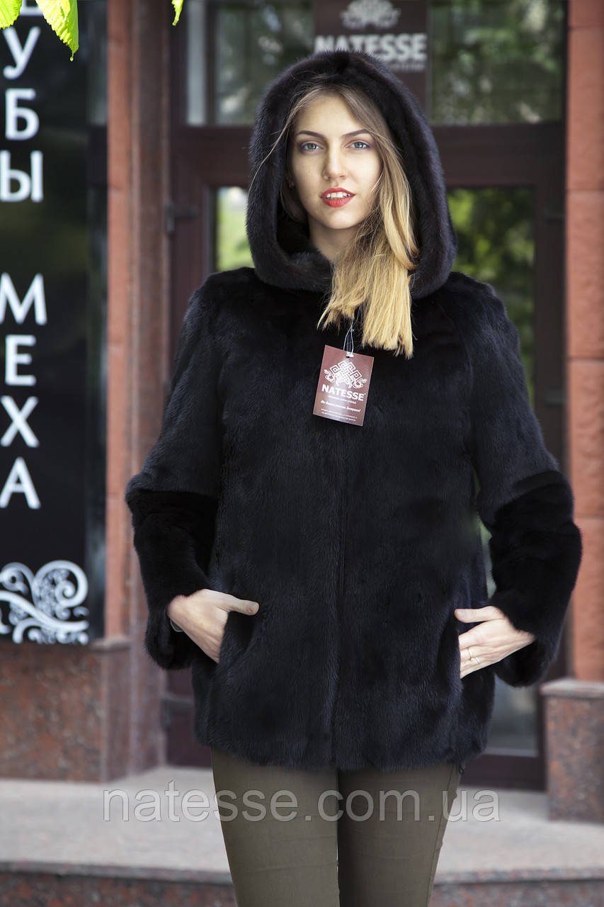 "Кожушок з датської норки ""Мирцелла"" з капюшоном Real mink fur coats jackets"