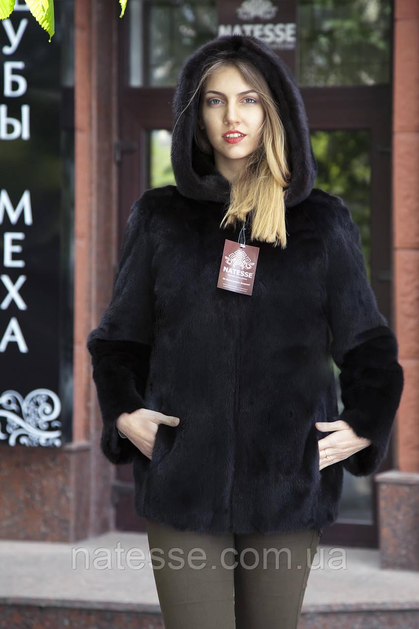 """Полушубок из датской норки """"Мирцелла"""" с капюшоном Real mink fur coats jackets"""