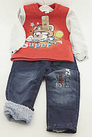 Детский костюм 1, 2 года Турция с начесом, байка штаны на травке