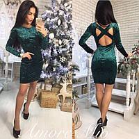 Платье модное велюровое с открытой спиной мини разные цвета SML2019, фото 1