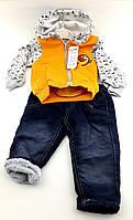 Детский костюм 1, 2, 3 года Турция с начесом, байка штаны на травке оптом