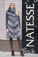 """Меховое пальто шуба из чернобурки """"Амелия"""" silver fox fur coat jacket, фото 1"""