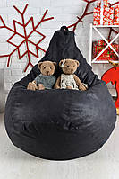 Бескаркасное Кресло мешок груша пуфик XL кожаное серое
