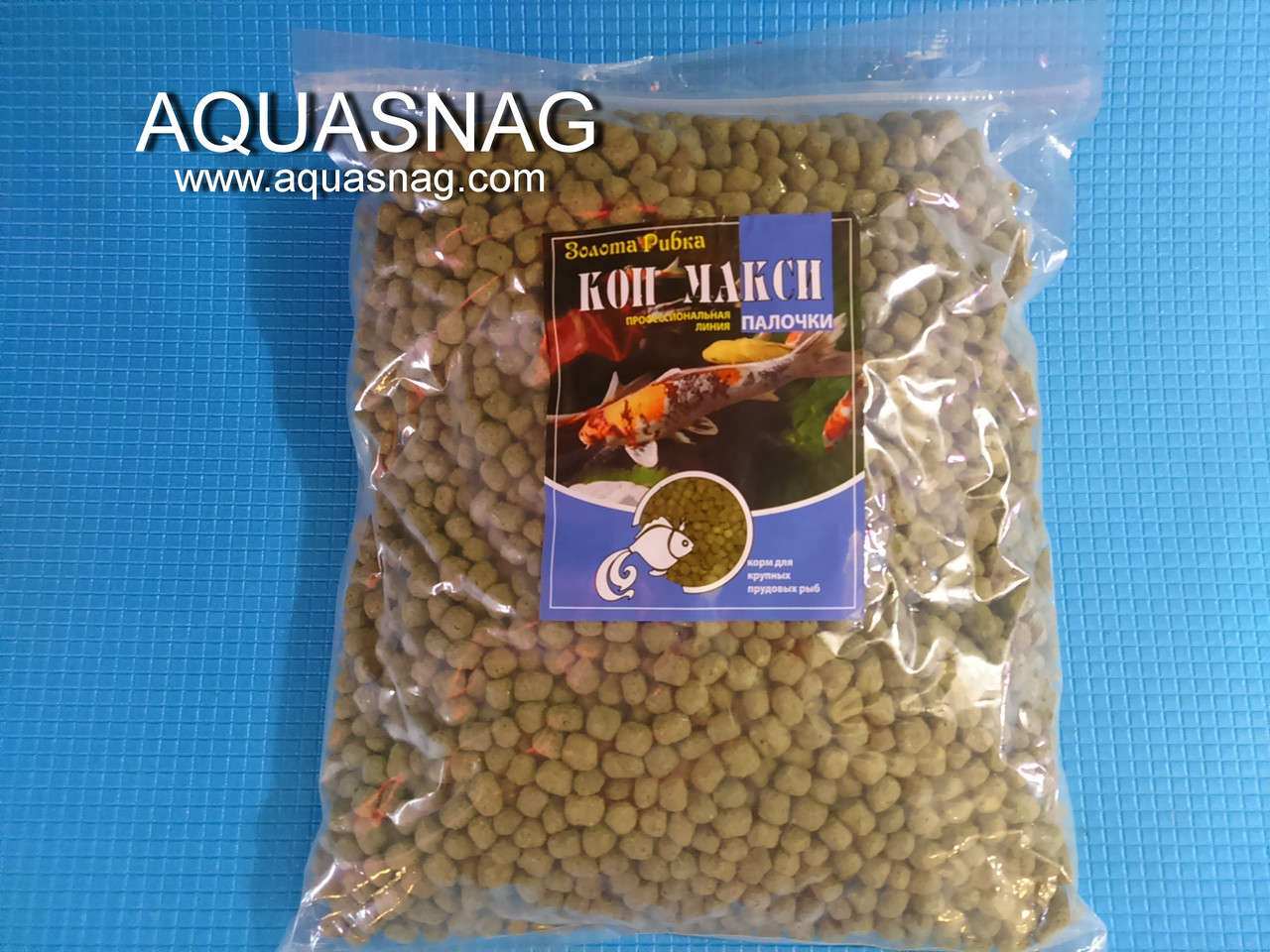 Кои Макси, зеленый -1кг, основной, витаминизированный корм для крупных прудовых рыб