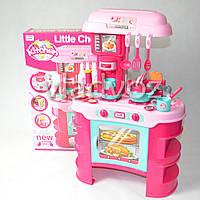 Детская игрушечная кухня со звуком, плита для девочки 2 конфорки розовая Little Chef