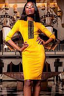 Женское горчичное платье Эрни Jadone  42-48 размеры