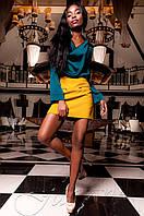 Женская шелковая туника-блуза Кантили изумруд ТМ Jadone  42-48 размеры