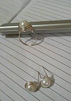 Кольцо и серьги с перламутром, фото 1