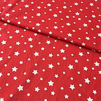 Ранфорс Люкс с мелким белыми звездочками на красном фоне, ширина 83 см
