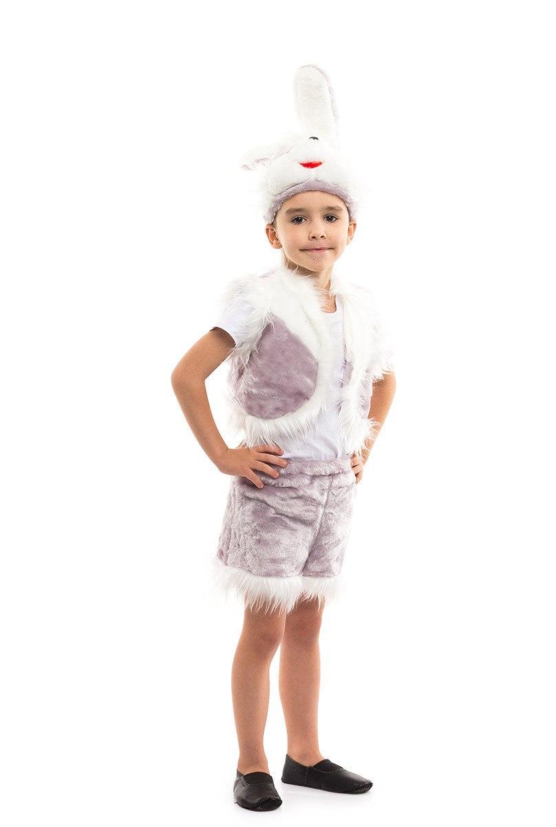 Карнавальный костюм Зайчика серый для мальчика меховой (3-7 лет)