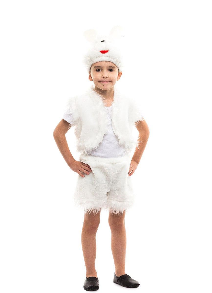 Карнавальный костюм Зайчика белый для мальчика меховой (3-7 лет)