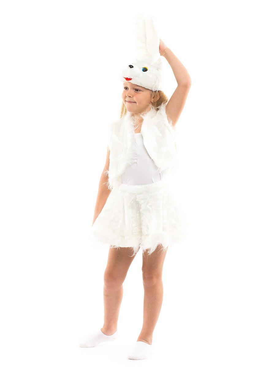Карнавальный костюм Зайчика белый для девочки меховой (3-7 лет)