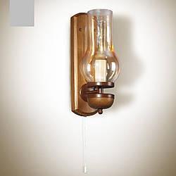 Бра деревянное, настенный светильник, керосинка 8901-2