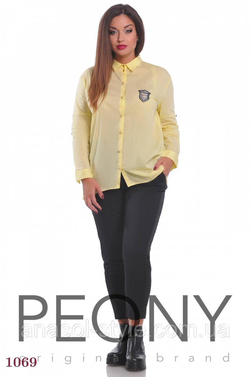 Женская рубашка Локрум (48 размер, желтый) ТМ «PEONY»