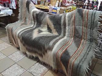 Карпатский плед из натуральной шерсти овчины, расцветка Ромбы серо-коричневые