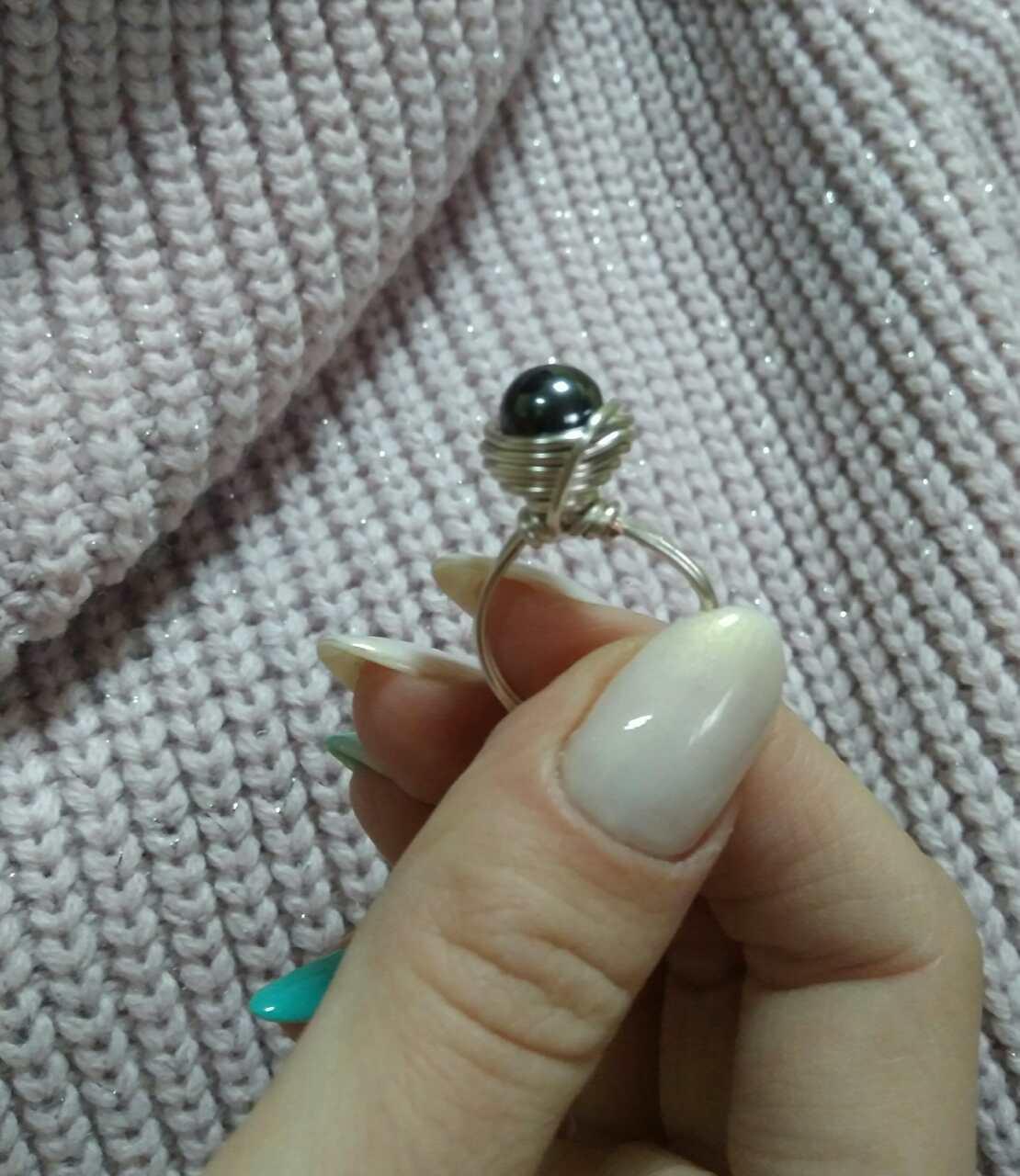 Комплект кольцо и серьги с гематитом