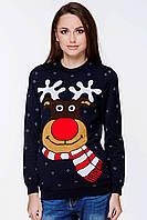 Женский вязаный свитер к Рождеству «Мультяшный олень»