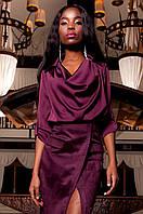 Женская бордовая шелковая туника-блуза Кантили  ТМ Jadone  42-48 размеры