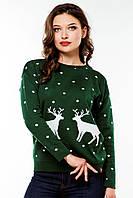 Стильный женский вязаный свитер «Два оленя» , фото 1