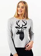 Женский вязаный свитер «Скучный олень» , фото 1