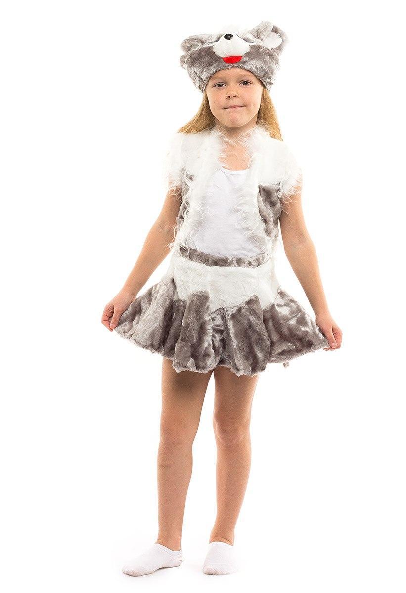 Детский карнавальный костюм Мышка девочка меховой (3-7 лет)