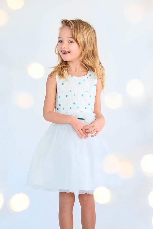 Платье нарядное для девочки, голубой поясок 4-6 лет