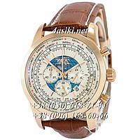 Часы Breitling Transocean Chronograph Unitime Leather Brown-Gold-White