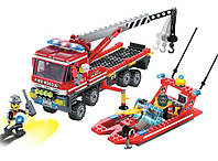 """Koнcтpуктop Brick 907 Пoжapнaя oxpaнa, Конструктор """"Пожарная охрана"""" машина и лодка 420 деталей Brick 907"""