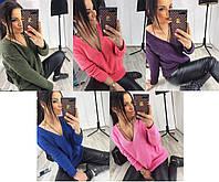 Вязаная кофта - свитер с V-образным вырезом, разные цвета