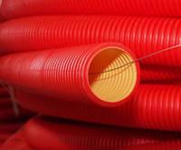 Труба усиленная двухслойная из полиэтилена в комплекте с муфтой радиус поворота до 40 диаметров трубы; Ø внеш. / Вн. Мм 125/107; кольцевая жесткость