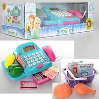 Кассовый аппарат игровой Frozen калькулятор, продукты, сканер, зв, св на батарейках в коробке