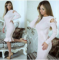 Стильное женское вязанное платье, фото 1