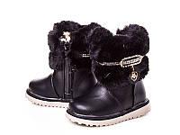 Зимние ботинки детские для девочек оптом X1320 Black (12/6пар, 20-25)
