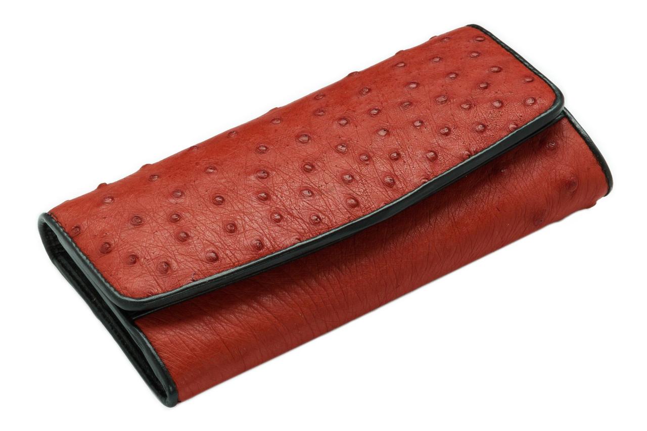Кошелек из кожи страуса Ekzotic Leather  Красный (ow01)