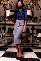 Женская темно-синяя шелковая туника-блуза Кантили  ТМ Jadone  42-48 размеры