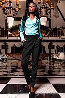 Женская бирюзовая шелковая туника-блуза Кантили  ТМ Jadone  42-48 размеры