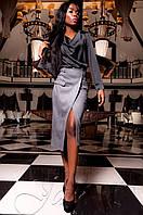 Женская черная шелковая туника-блуза Кантили  ТМ Jadone  42-48 размеры