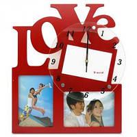 Фоторамка-коллаж с часами LOVE на 2 фотографии красная 11х16