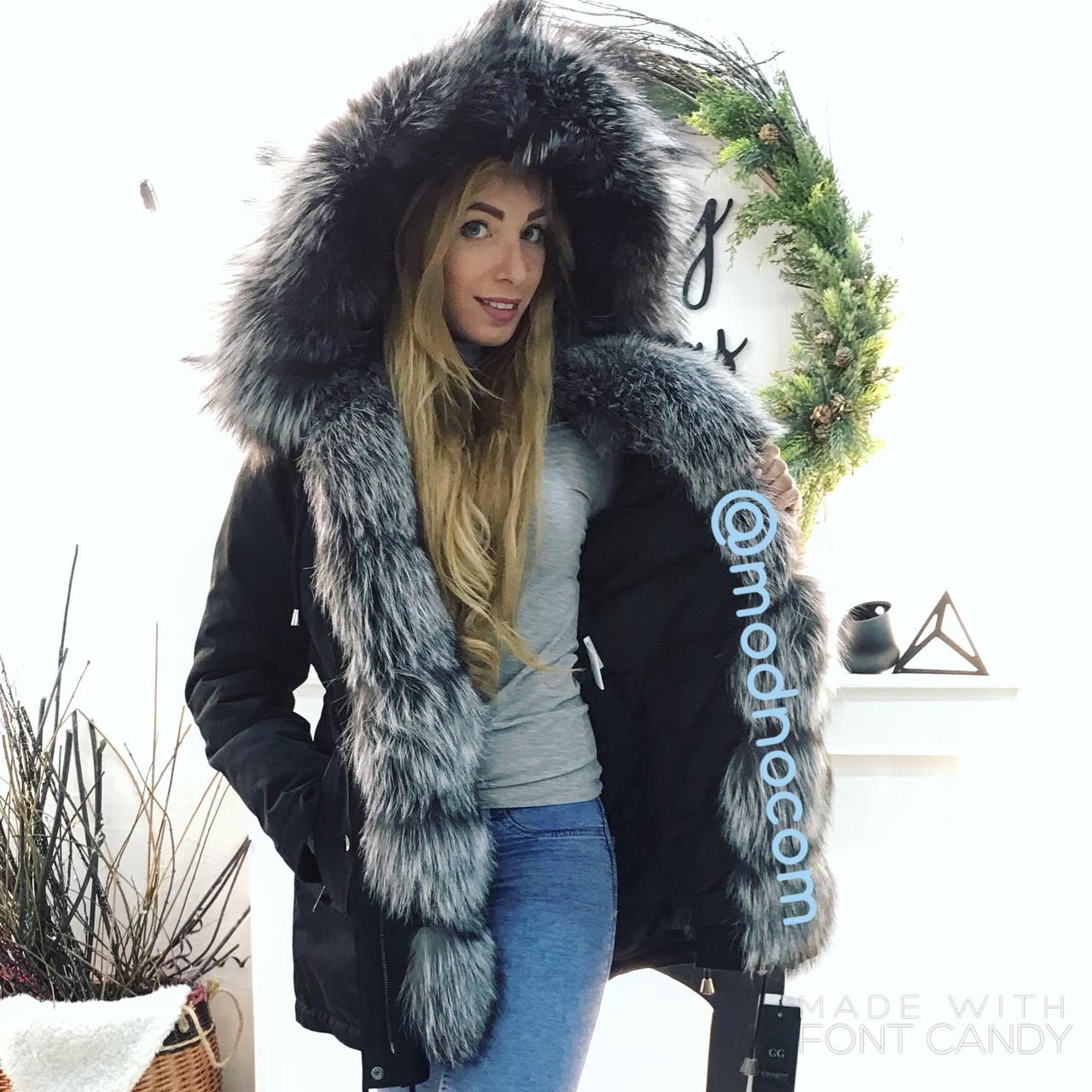 Куртка парку з натуральним хутром чорнобурки